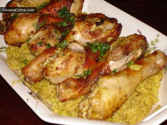 Куриные окорочка с рисом в духовке рецепт пошагово
