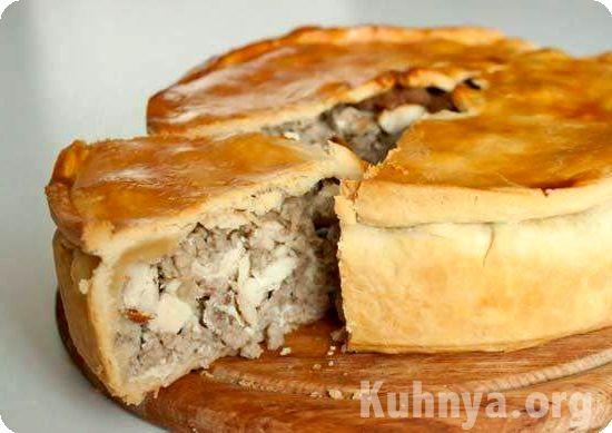 Пирог с мясом из песочного теста