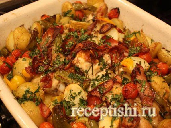Как потушить курицу с овощами в духовке рецепт
