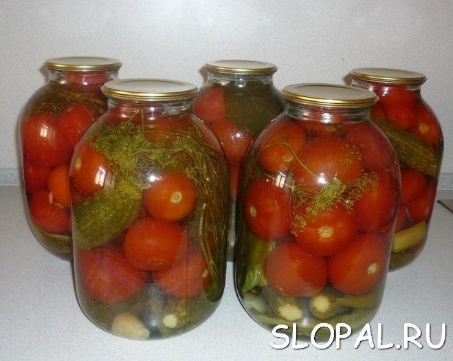 Соленые огурцы с помидорами в банках
