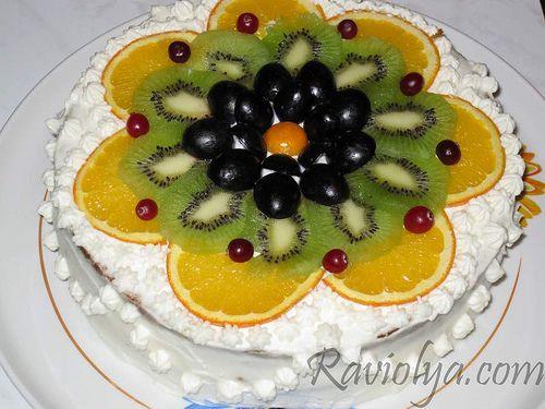 Украшение домашнего торта фруктами в домашних условиях с фото